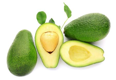 Ripe avocados on white background