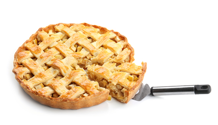 Tasty homemade apple pie on white background