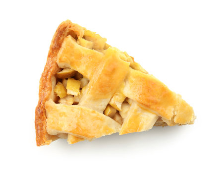 Piece of tasty homemade apple pie on white background Stock Photo
