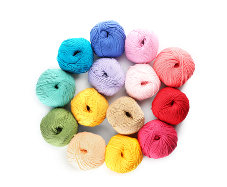 Colorful knitting yarn on white background