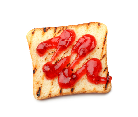 Toasted bread with jam on white background