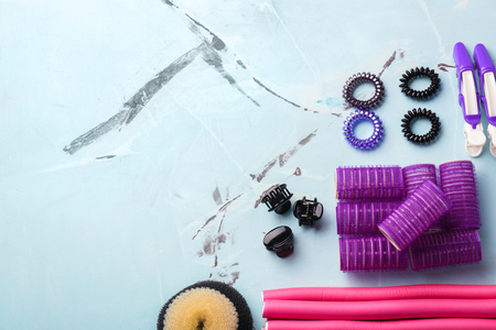 Professional hairdressers tools on light background Stock Photo