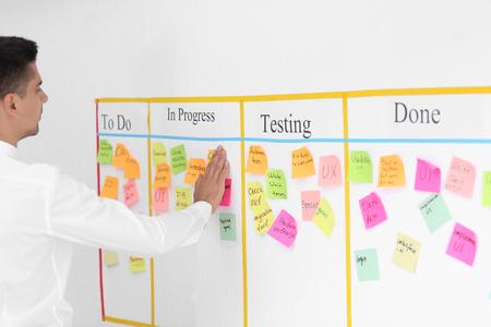 Hombre adjuntando una nota adhesiva al tablero de tareas scrum en Office Foto de archivo
