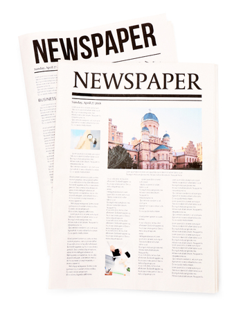Newspapers on white background Banque d'images - 113846262
