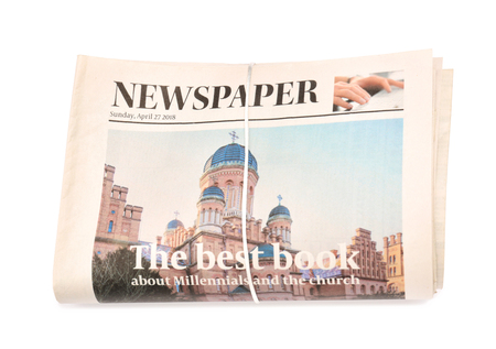 Folded newspapers on white background Imagens