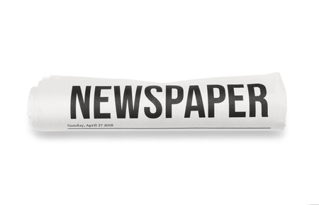 Rolled newspaper on white background Banque d'images - 113992013