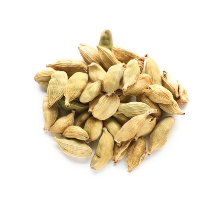 Cardamon pods on white background Stock Photo