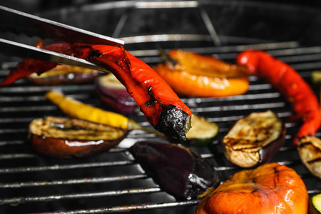 Cooking of vegetables on barbecue grill, closeup