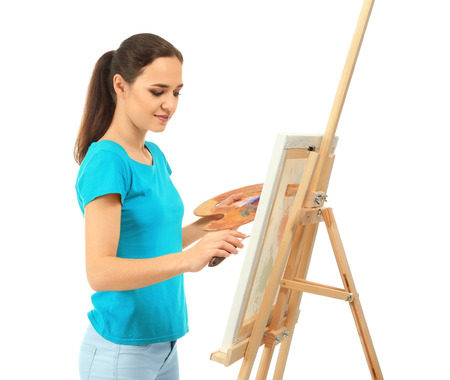 Female artist painting picture on white background