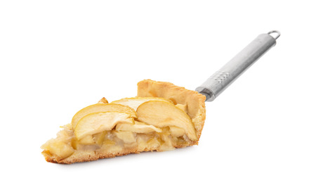 Spatula with piece of tasty homemade apple pie on white background