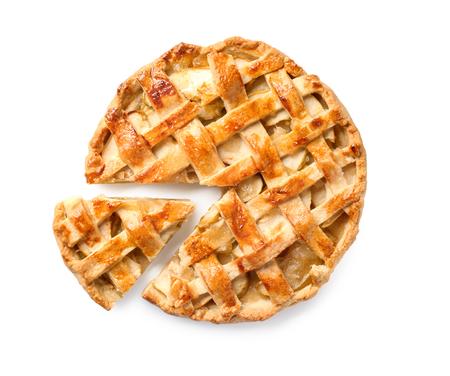Tasty homemade apple pie on white background