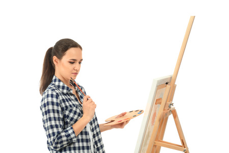 Female artist with drawing easel on white background Imagens