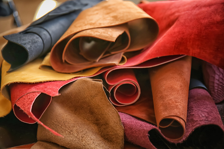 Assortment of colorful leather pieces