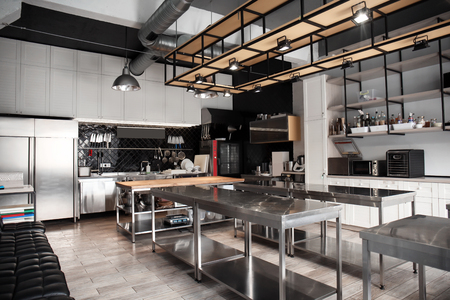 Interior of professional kitchen in restaurant Banco de Imagens