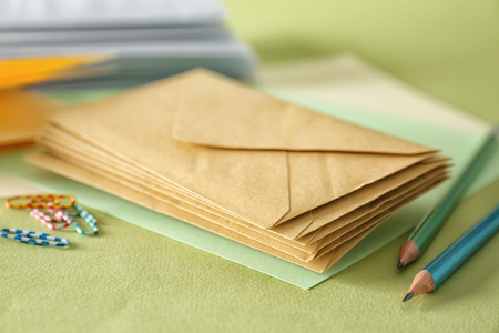 Mail envelopes on color background, closeup 스톡 콘텐츠