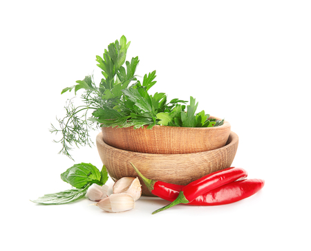 Composition with fresh spices on white background
