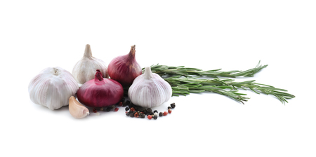 Fresh onions, garlic and spices on white background Stock Photo