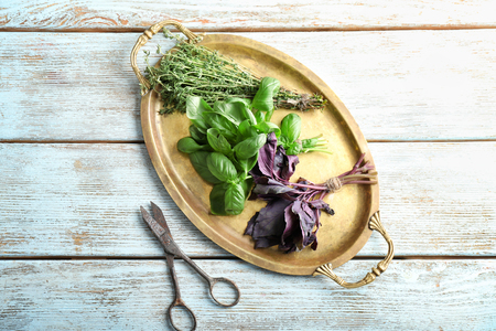 Composition with different fresh herbs and scissors on wooden background
