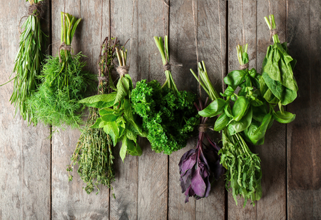 Different fresh herbs hanging on string against wooden background