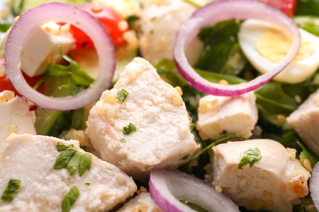 Tasty salad with chicken, vegetables and herbs, closeup Stock fotó
