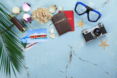 Composition with travel accessories on color background