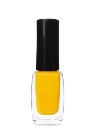 Glass bottle of nail polish on white background 写真素材