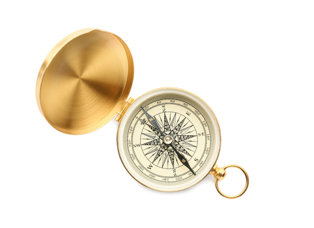 Golden compass on white background Stock Photo