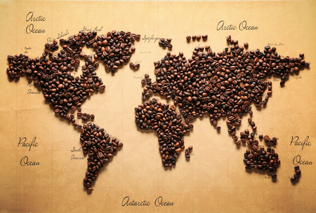 World map made of roasted coffee beans, top view