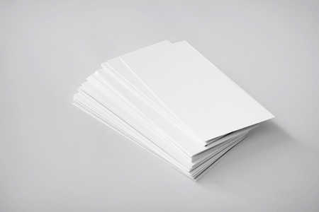 Blank business cards on white background