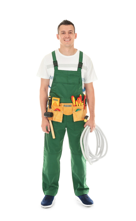 Electrician with tools on white background