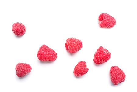 Delicious ripe raspberries on white background