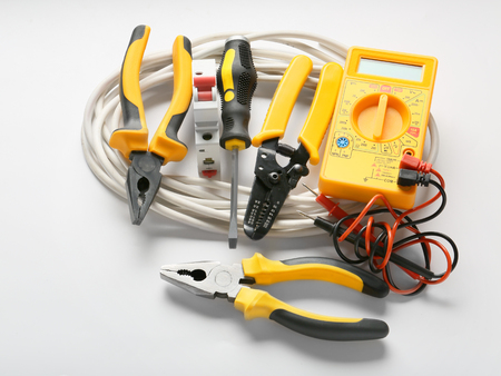 Different electrician's tools and supplies on white background Banco de Imagens