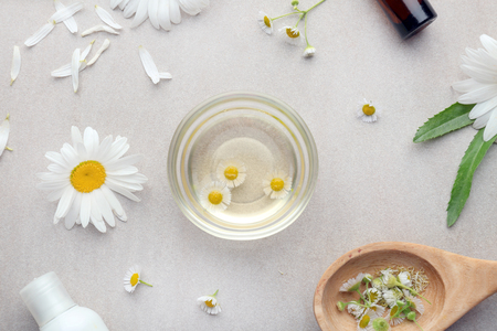 Composition with chamomile essential oil and fresh flowers on light background