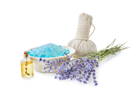 Spa composition with beautiful lavender on white background Imagens