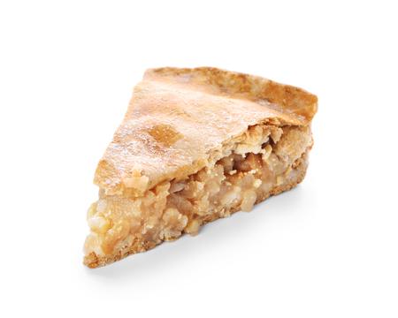 Pedazo de sabroso pastel de manzana sobre fondo blanco. Foto de archivo
