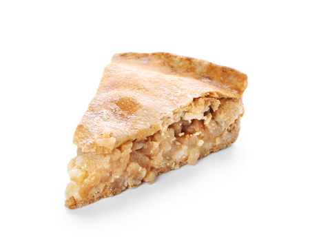 Piece of tasty apple pie on white background