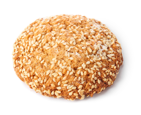 Tasty cookie with sesame seeds on white background Reklamní fotografie