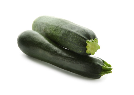 Fresh zucchinis on white background Standard-Bild - 113782119