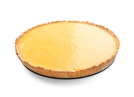 Tasty lemon pie on white background