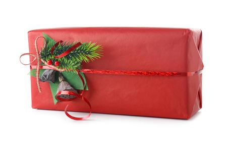 Beautiful Christmas gift box on white background Stock Photo