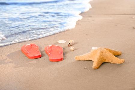 Starfish and flip-flops on beach at sea resort