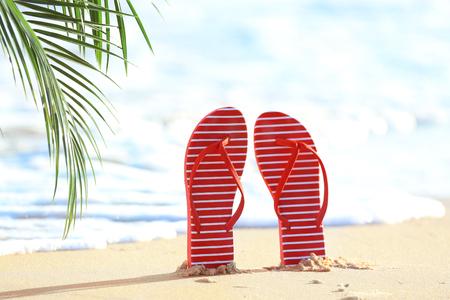 Flip-flops on sea beach at tropical resort 스톡 콘텐츠