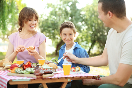 Happy family having picnic on summer day