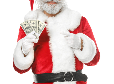 Santa Claus with dollar banknotes on white background
