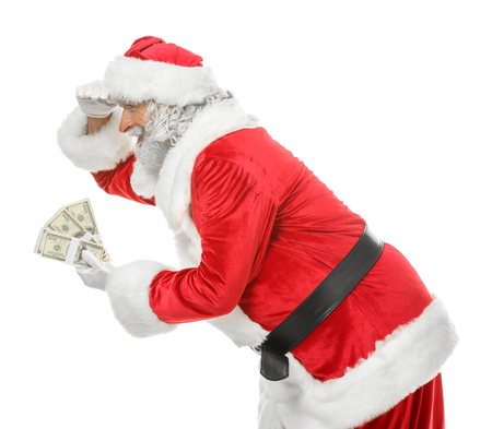 Portrait of Santa Claus with money on white background Stock Photo