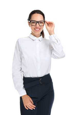 Beautiful businesswoman on white background Фото со стока