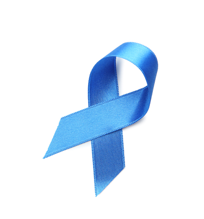 Blue ribbon on white background. Cancer concept