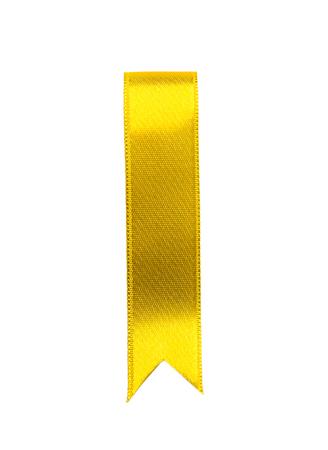 Yellow ribbon bookmark on white background 免版税图像