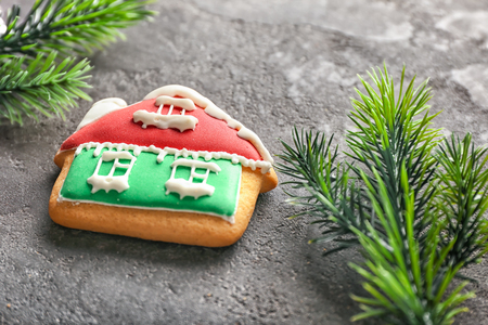 Christmas cookie with fir tree branches on grey background