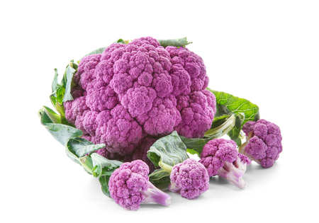 Purple cauliflower on white background Standard-Bild